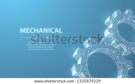 Gears. Abstract vector wireframe two gear 3d modern illustration on blue background. Mechanical technology machine engineering symbol. Industry development, engine work, business solution concept