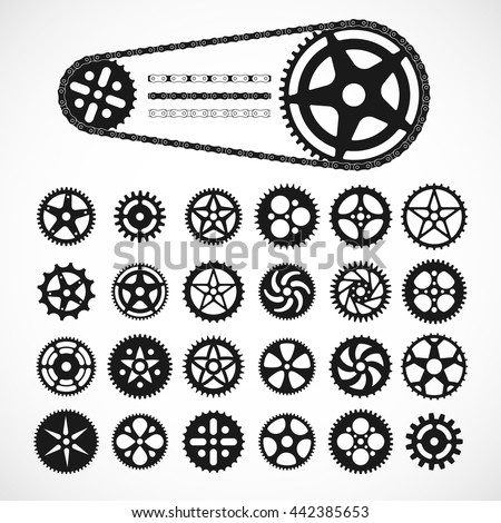 gears and bicycle chain icons