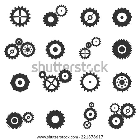 Gears And Cog Wheels Icons Set Vector Isolated On White