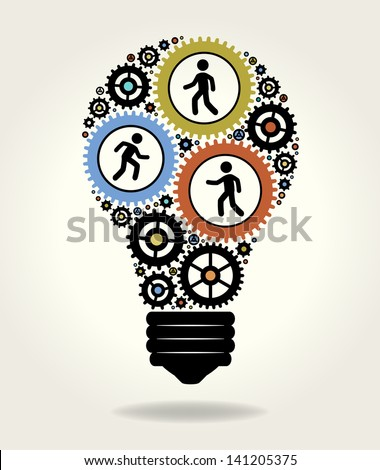 Gears and people icons form the shape of light bulbs. concept of effective teamwork. The file is saved in the version AI10 EPS. This image contains transparency.