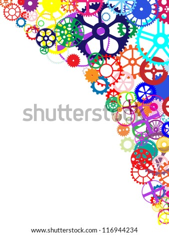 Gears and wheels. Artistic multicolored background illustration