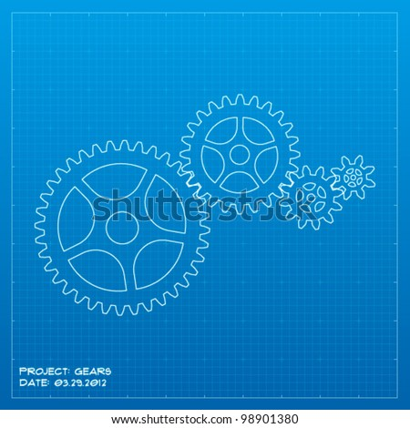 Gears blueprint. Business concept. Vector illustration.