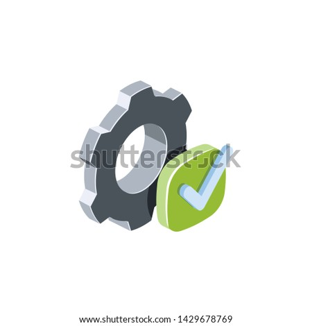 Gears check marck, settings. Vector 3d isometric color icon new flat style. Creative illustration, idea for infographics.