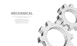 Gears. Closeup abstract vector wireframe two gear. 3d illustration isolated on white. Mechanical technology machine, Industry development, engine work, business solution, team work concept, background