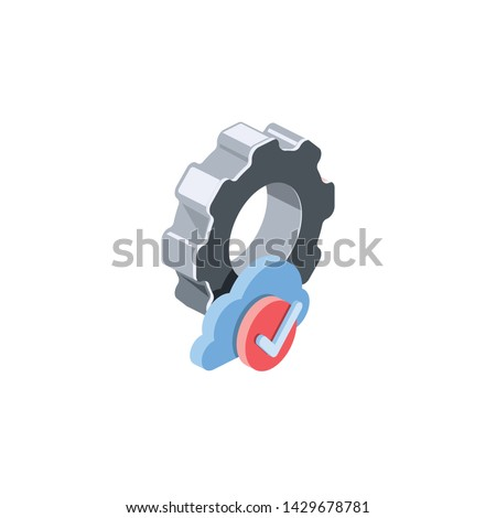 Gears clouds, settings. Vector 3d isometric color icon new flat style. Creative illustration, idea for infographics.