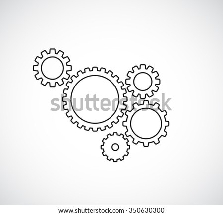 gears cogs teamwork outline design