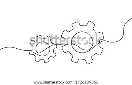 Gears Continuous One Line Drawing. Gears Contour Illustration for Business Concept. Modern Minimalist One Line Drawing. Vector EPS 10