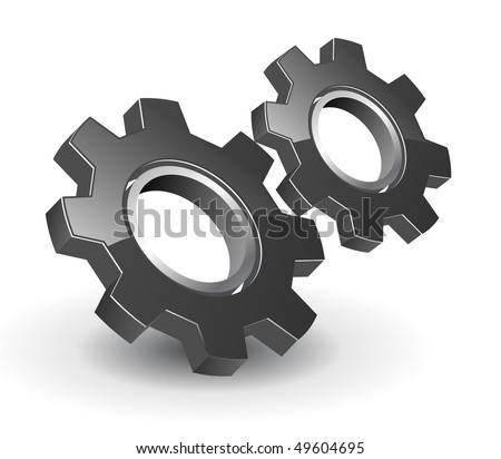 gears 3D black glossy, vector illustration.