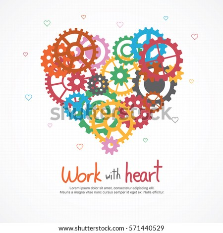 gears heart for teamwork and