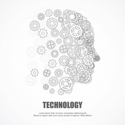 Gears human face for technology