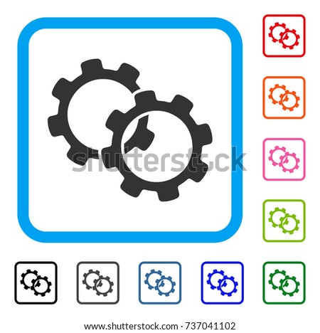 Gears icon. Flat gray pictogram symbol inside a light blue rounded squared frame. Black, gray, green, blue, red, orange color versions of Gears vector. Designed for web and application interfaces.
