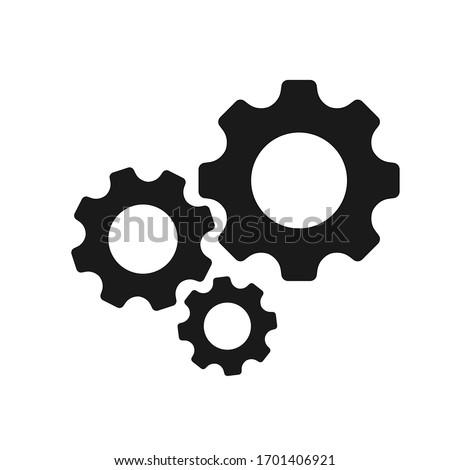 Gears icon flat vector. Settings icon.  Stockfoto ©