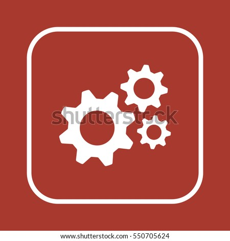 Shutterstock Gears  icon,  isolated. Flat  design.