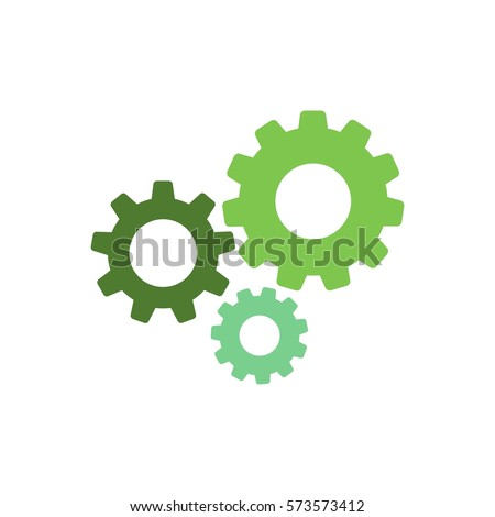 Shutterstock Gears icon isolated on white. Combination of pinions of different colors. Vector flat illustration for technology or innovation.