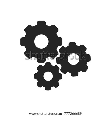 Gears icon. Settings symbol. Cog pictogram, flat vector sign isolated on white background. Simple vector illustration for graphic and web design. Foto stock ©
