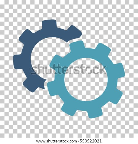 Gears icon. Vector pictograph style is a flat bicolor symbol, cyan and blue colors, chess transparent background. Designed for software and web interface toolbars and menus.