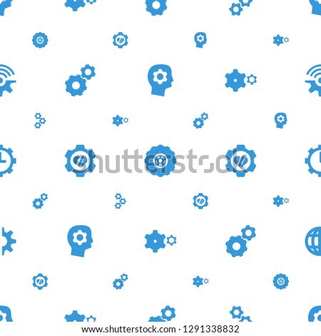 gears icons pattern seamless white background. Included editable filled gear in head, gear, heart in gear, clock in clobe connection icons. gears icons for web and mobile.