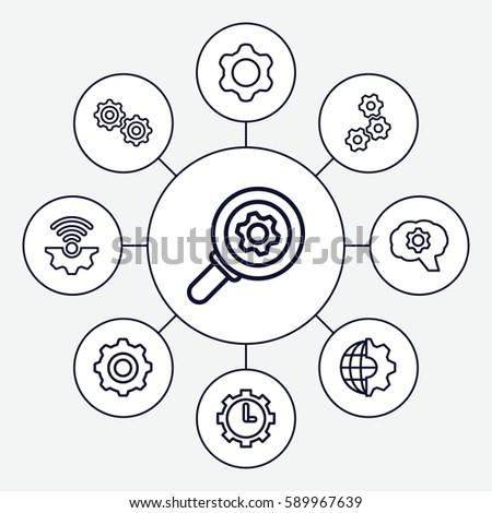 gears icons set. Set of 9 gears outline icons such as clock in gear