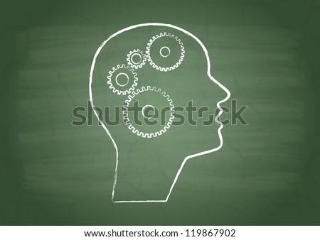 Gears in human head on a green school board