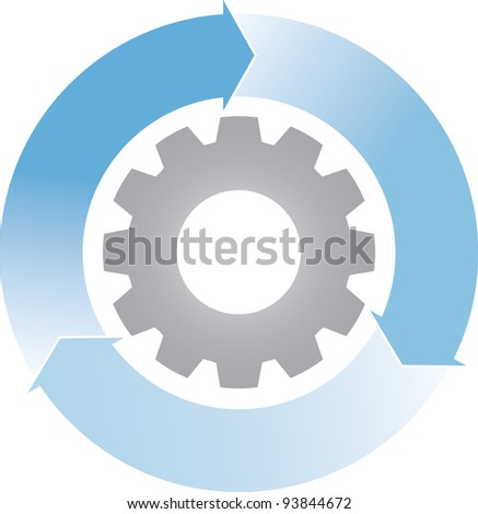 Gears in motion and arrows, business process concept