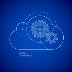 Gears in the cloud line icon vector illustration on topic of cloud computing, saas, internet technology, hosting, software, service, storage, network, back-up, access. Blue print style set of icons.