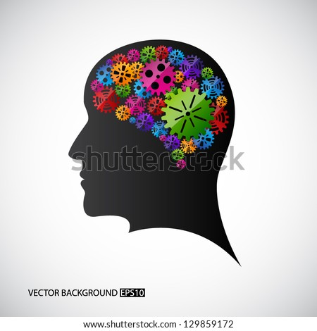 Gears in the mind profile. EPS10 vector