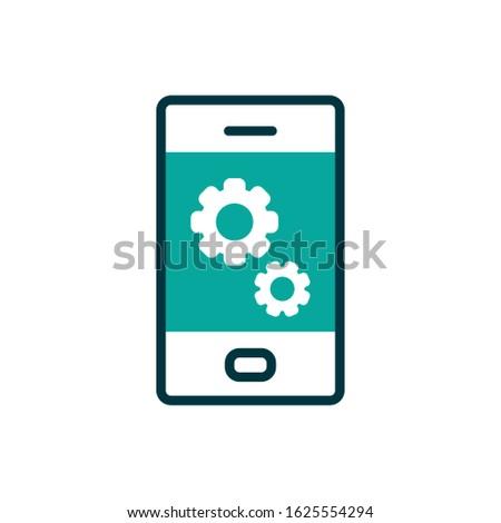 Gears inside smartphone design, Cellphone mobile digital phone technology communication and social media theme Vector illustration