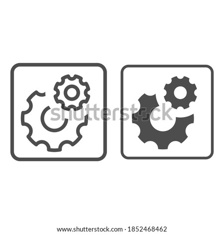 Gears line and solid icon, Robotization concept, two cog wheel sign on white background, Cogwheel and development icon in outline style for mobile concept and web design. Vector graphics.