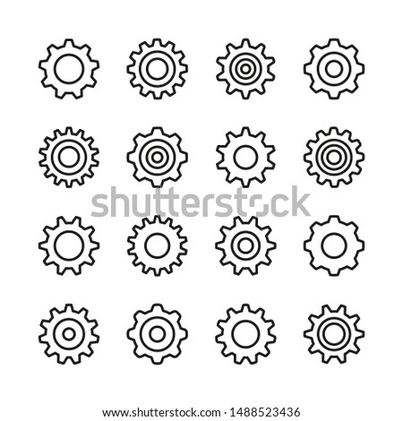 Gears line icons set. Cogs, cogwheels. Modern graphic design concepts, simple outline elements collection. Vector icons