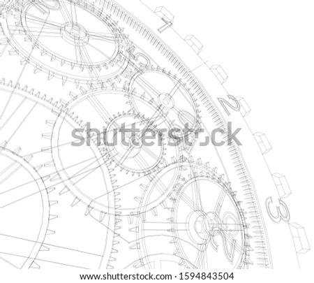 gears mechanism linear vector 3d illustration