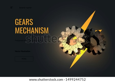 Gears mechanism low poly landing page template. 3d cogwheels polygonal illustration with lightning bolt. Progress and innovation concept. Management, cooperation metaphor. Successful business banner
