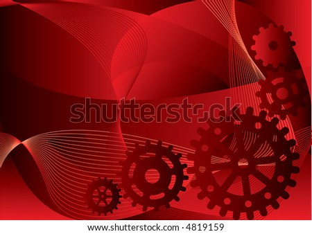 gears on a red abstract background
