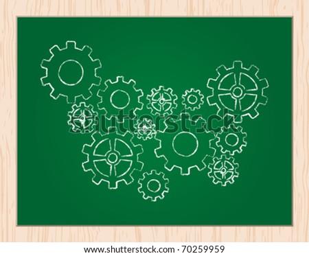 gears on blackboard