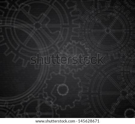 gears pattern over black background. Vector Illustration