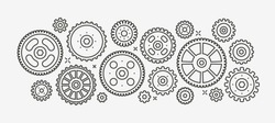 Gears set linear style drawing. Vector illustration