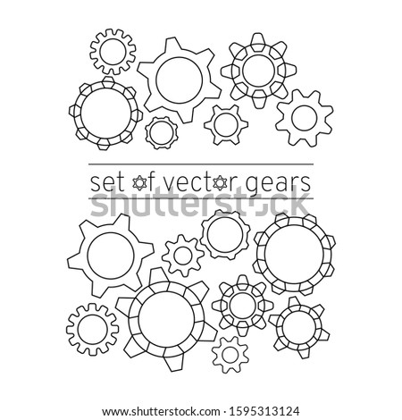 Gears set of different shapes. Concept: mechanism of action, the process of thinking, brainstorming, creation technology, rotation, a system of auxiliary mechanisms. Vector illustration, eps 10.