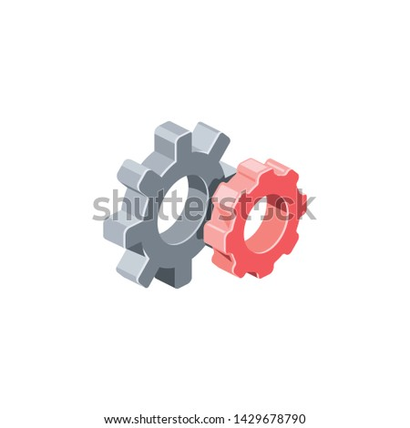 Gears, settings. Vector 3d isometric color icon new flat style. Creative illustration, idea for infographics.