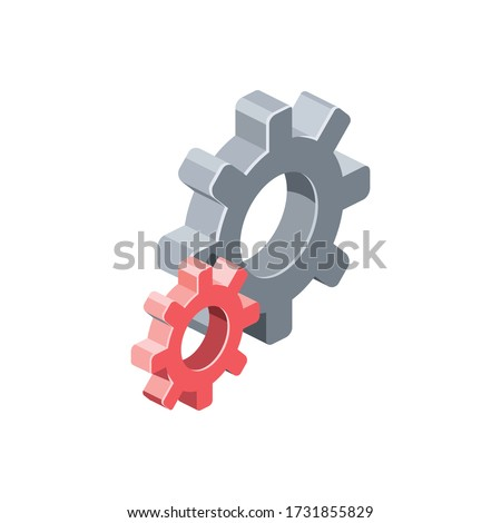 Gears settings. Vector 3d isometric, color web icon, new flat style. Creative illustration design, isolated graphic idea for infographics.