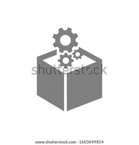 Gears Sign icon. gears icon. Gears in box. Stock vector illustration isolated on white background.