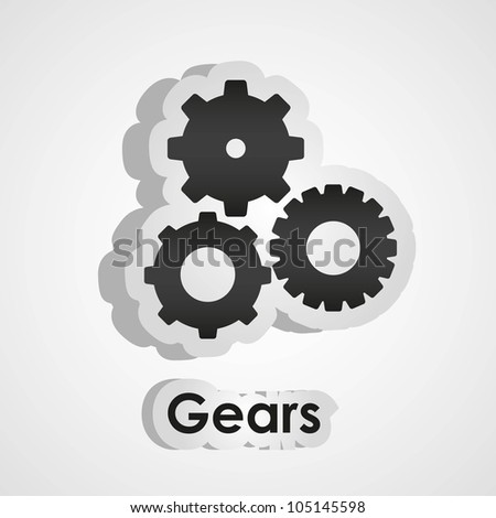 gears stickers isolated on white background, vector illustration