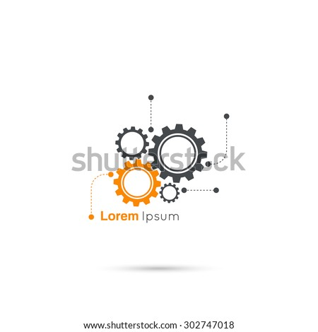 Gears symbol. Concept of motion and mechanics, connection and operation engineering design work. vector. minimal. Logo