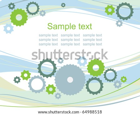 gears vector background, business card