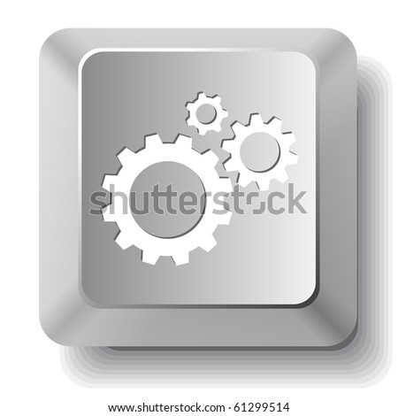 Gears. Vector computer key. - stock vector