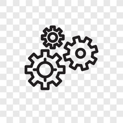 Gears vector icon isolated on transparent background, Gears logo concept