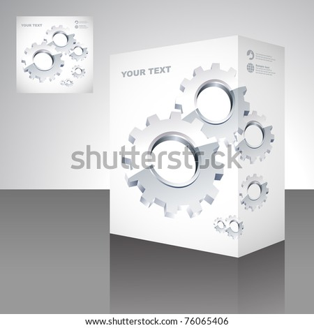 Gears. Vector packaging box. Abstract illustration.