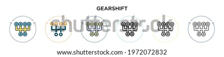 Gearshift icon in filled, thin line, outline and stroke style. Vector illustration of two colored and black gearshift vector icons designs can be used for mobile, ui, web Stock photo ©