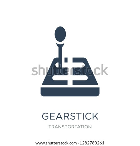 gearstick icon vector on white background, gearstick trendy filled icons from Transportation collection, gearstick vector illustration