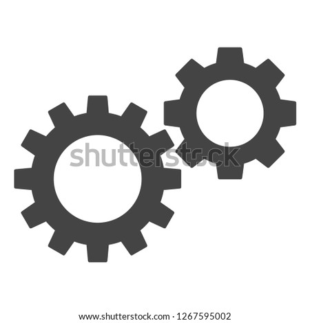 Gearwheels vector illustration on a white background. An isolated flat icon illustration of gearwheels with nobody.