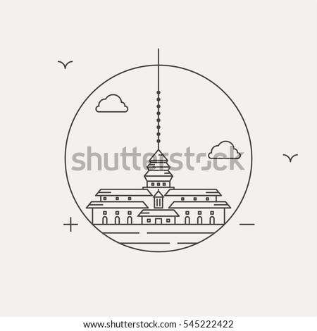 gedung sate building satay line icon vector eps