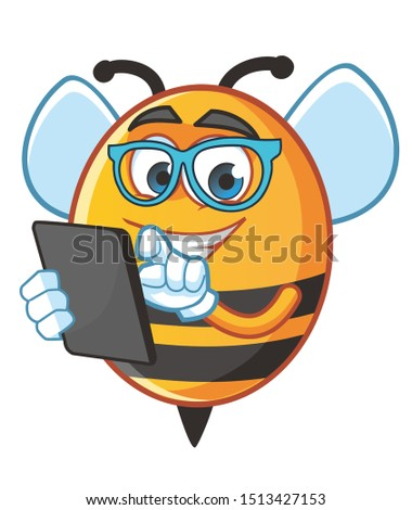 geek bee mascot character vector design